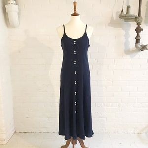 Vintage 80's Strappy Ribbed Navy Dress Small